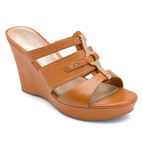 Locklyn 3 Band Slide Women's Sandals in Brown